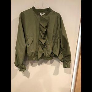 JOA for Anthropologie ruffled bomber jacket